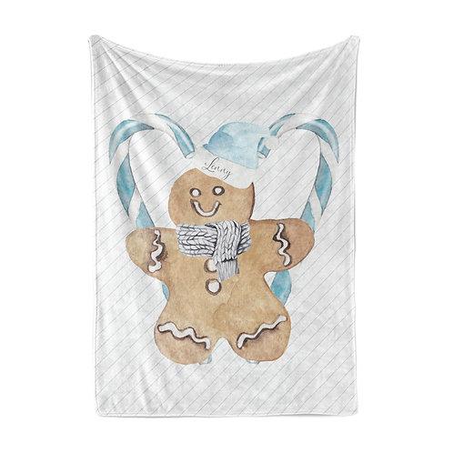 Personalized light blanket - Blue gingerbread man