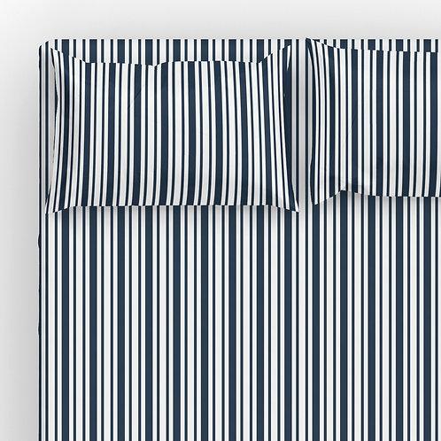 Italian cotton Sheet Set - Navy French Ticking