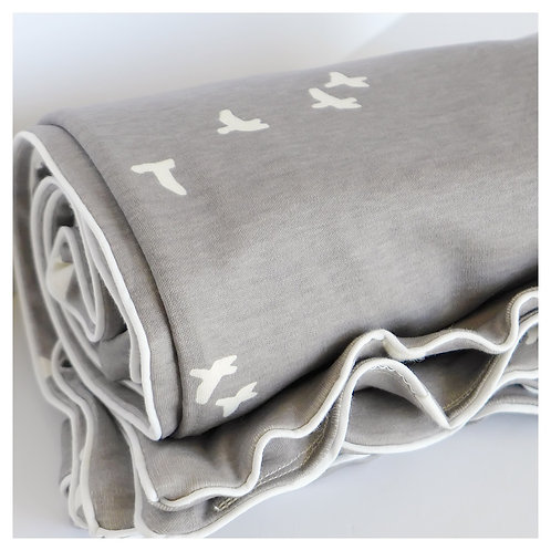 100% GOTS organic knit-birds toddler blanket/set