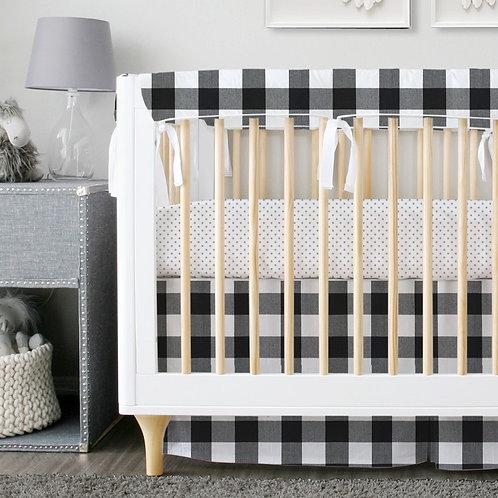 Crib 3pc set - black & white
