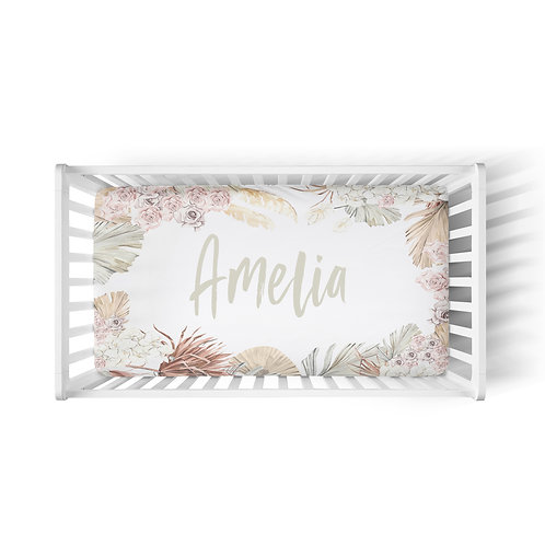 Personalized crib fitted sheet - Floral Jungle