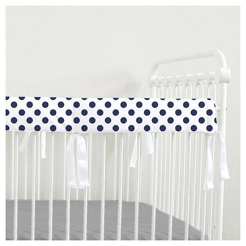 Crib teething rail guard - polka dots