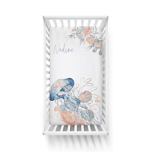 Personalized crib fitted sheet - Ocean coral Jellyfish
