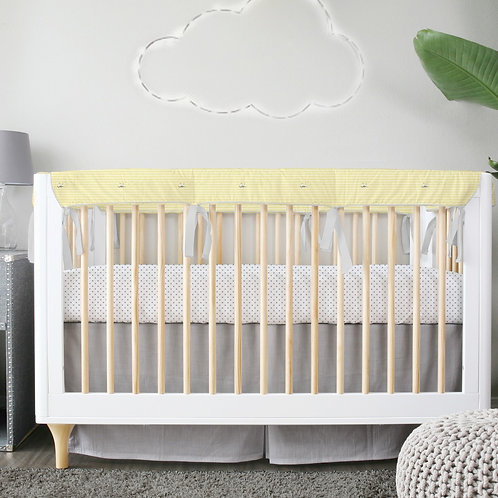 Crib 3pc set - gray & yellow