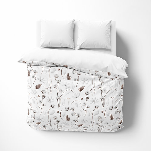 Personalized comforter - Botanical Cotton Flower