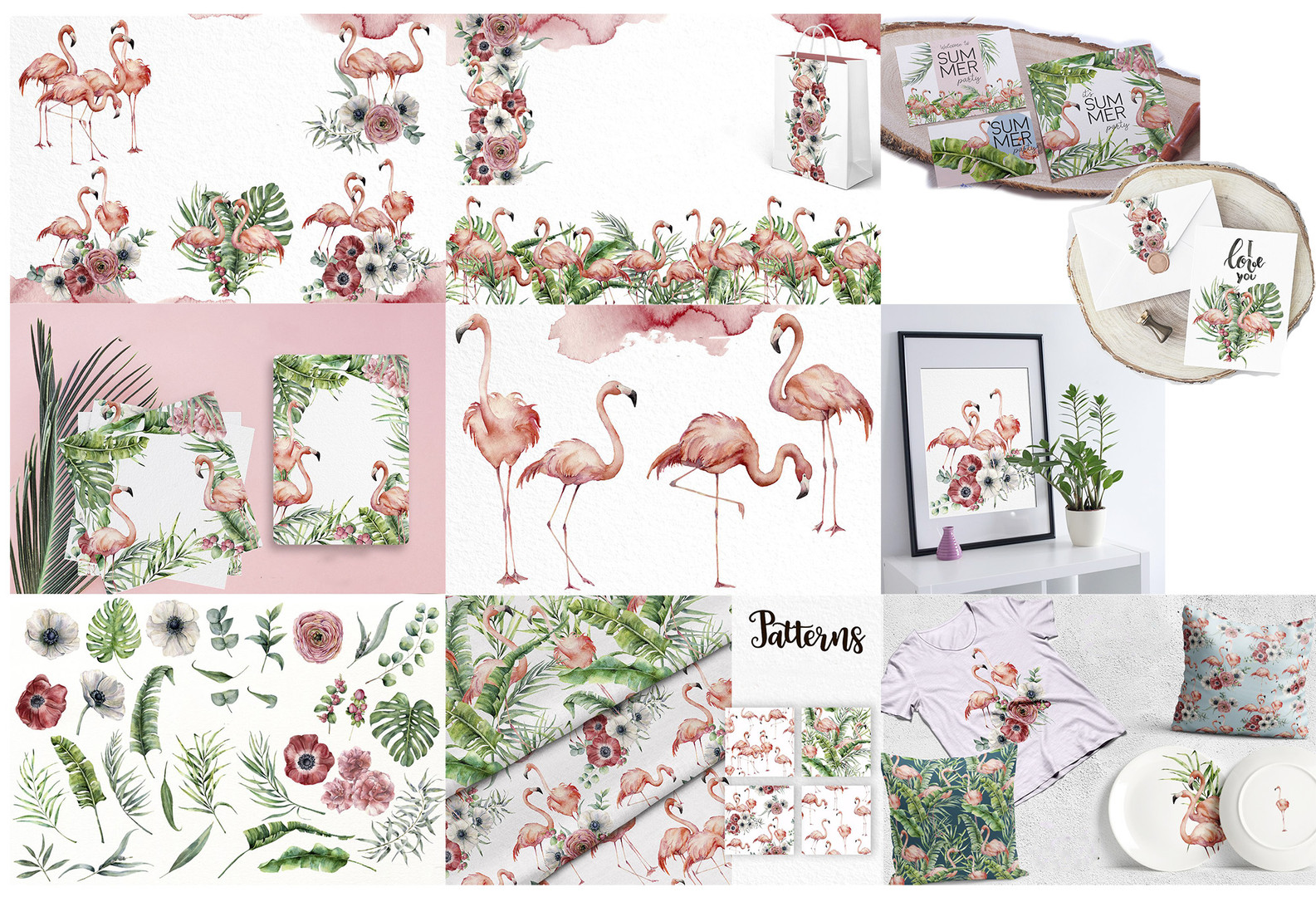 Watercolor flamingo collection
