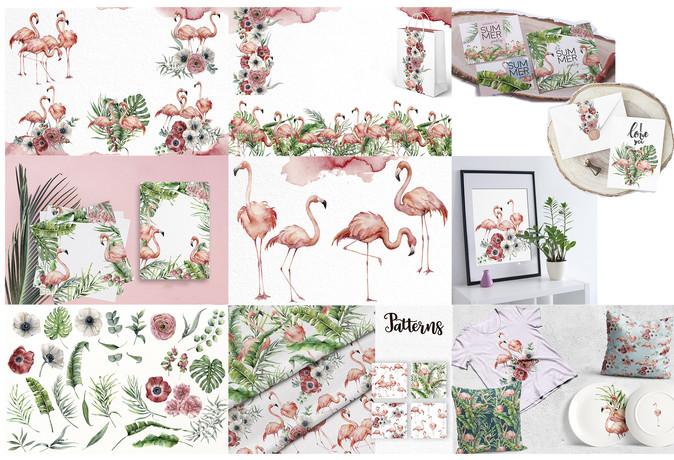 Watercolor flamingo collection