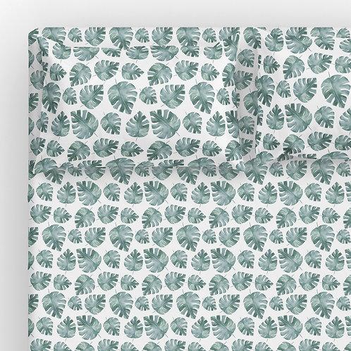 Italian cotton Sheet Set - monstera