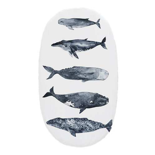 Personalized oval fitted sheet - Whales Pod