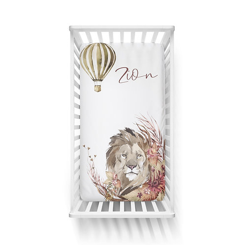 Personalized crib fitted sheet - Out of Africa lion