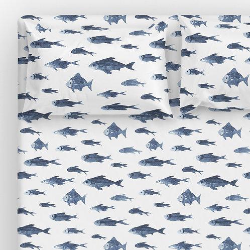 Italian cotton Sheet Set - Neptune fish school