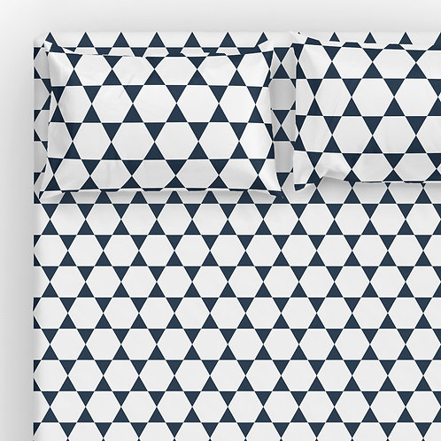 Italian cotton Sheet Set - Hanukkah David Star