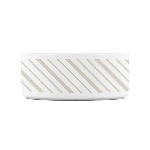 Personalized Pet bowl - Neutral diagonal ticking