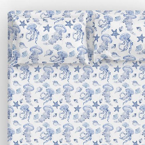 Italian cotton Sheet Set - Star & Jellyfish