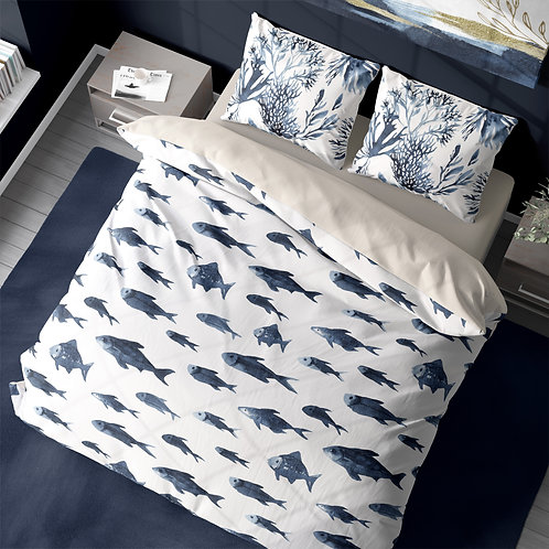 Personalized duvet cover - Neptune Fish School