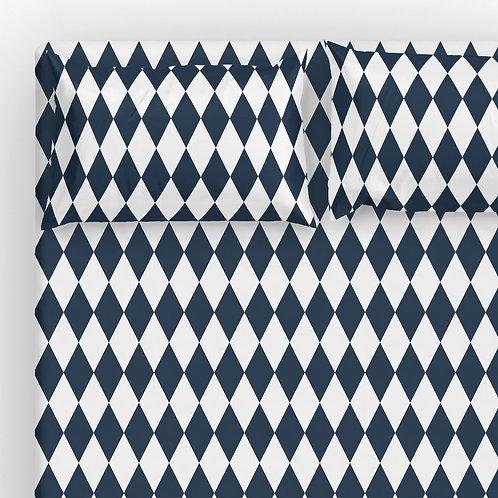 Italian cotton Sheet Set - Navy Harlequin