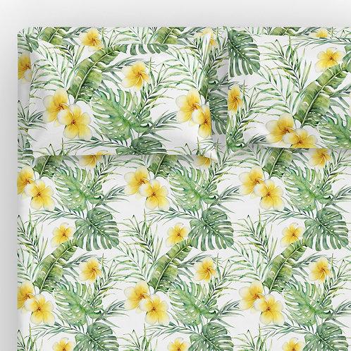 Italian cotton Sheet Set - Frangipani Palm Monstera
