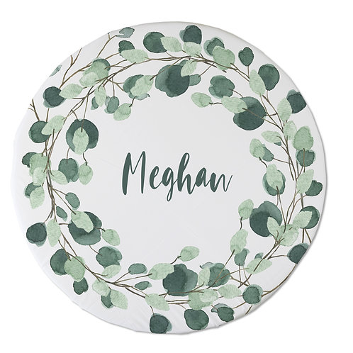 Personalized oval fitted sheet - floral wreath