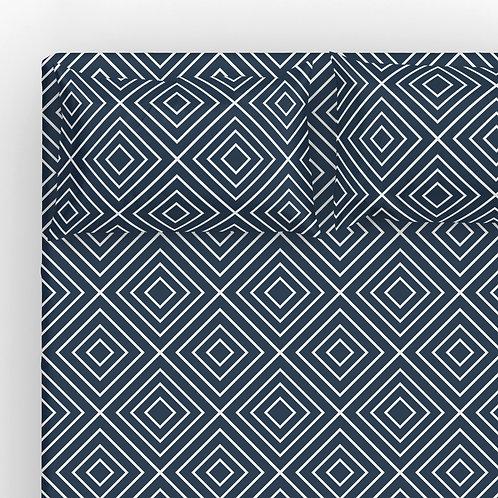 Italian cotton Sheet Set - Navy Geometric