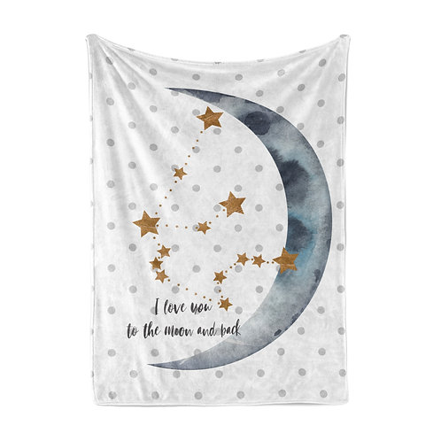 Personalized light blanket - Crescent blue moon