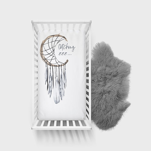 Personalized crib fitted sheet - Boho dream catcher