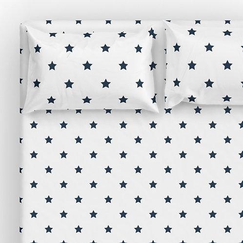 Italian cotton Sheet Set - Navy-Wh Stars