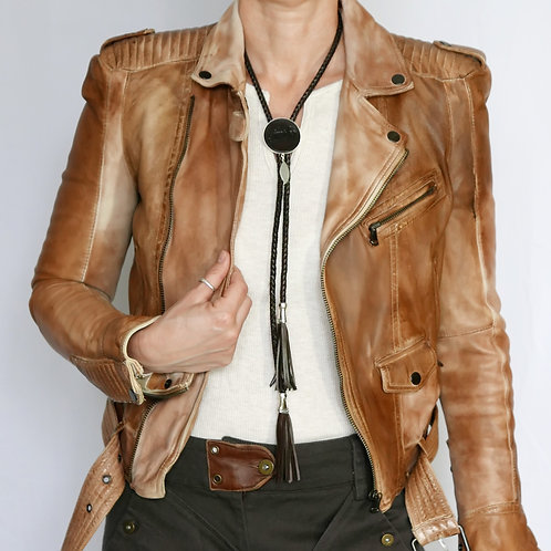 Western Bolo Tie/Necklace Leather - Chocolate