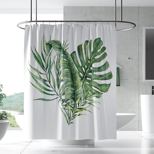 Shower Curtain - Monstera tropical leaves