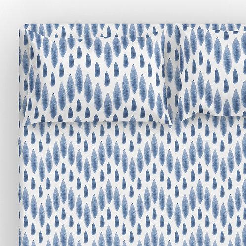 Italian cotton Sheet Set - Shibori chevron