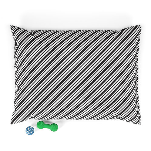 Personalized Pet bed - Black & White diagonal ticking