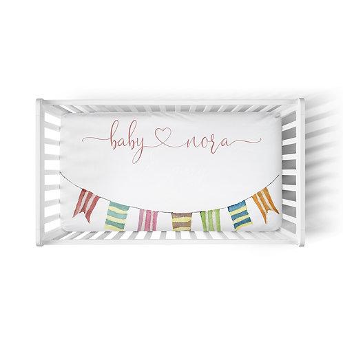 Personalized crib fitted sheet - llama garland