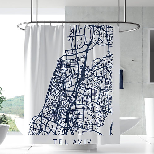 Shower Curtain - Map & The City