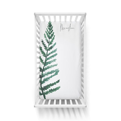Personalized crib fitted sheet - forest fern
