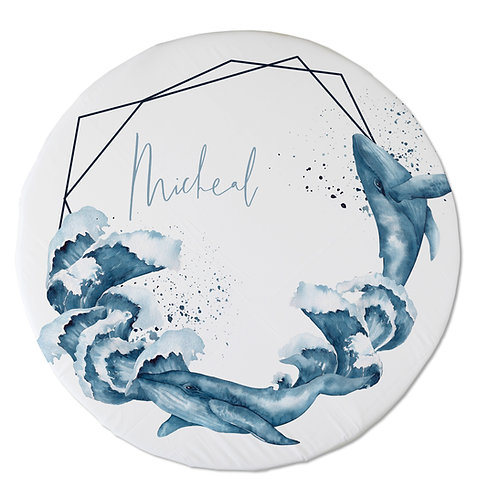 Personalized oval fitted sheet - Whales frame