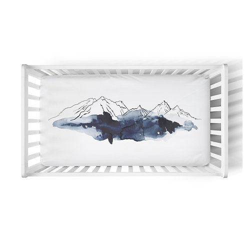 Personalized crib fitted sheet - Neptune mountains high