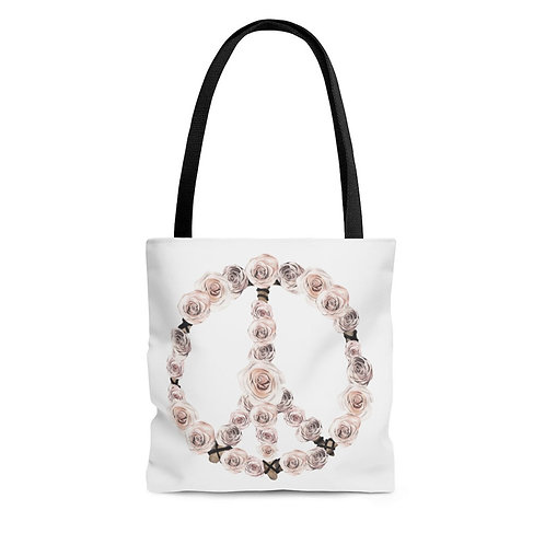 Personalized Shopping Tote - boho peace sign