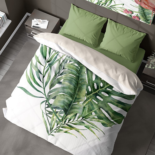 Personalized duvet cover - Monstera Tropical Leaves
