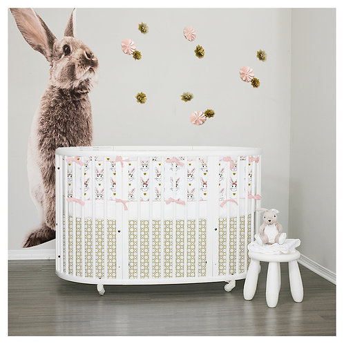 Stokke sleepi bumper 3pc set - bunnies & gold