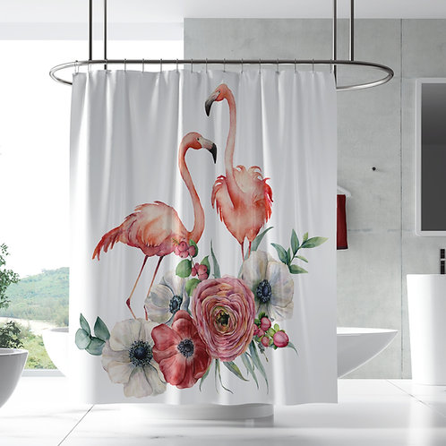 Shower curtain - Flamingo poppy couple