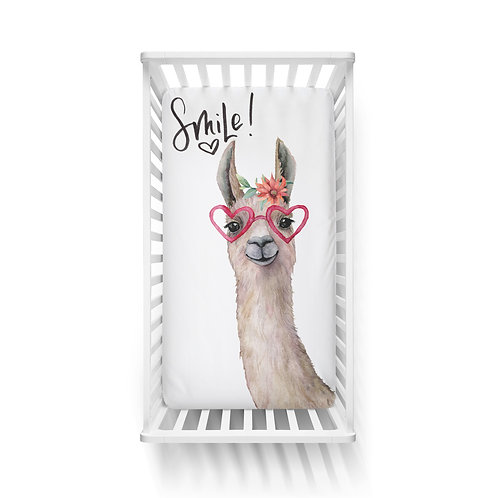 Personalized crib fitted sheet - llama smile
