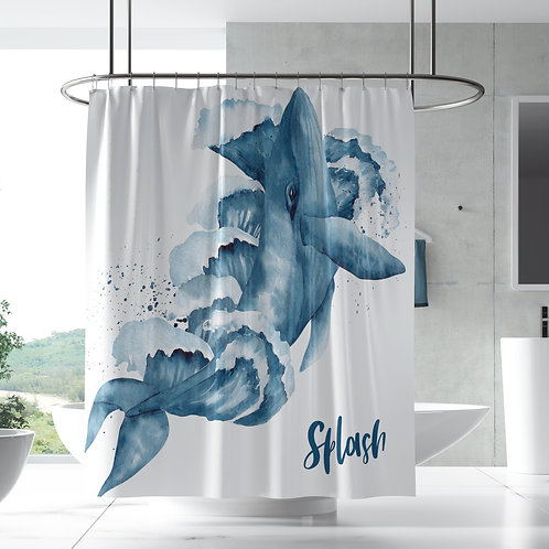 Shower Curtain - Whales & Waves