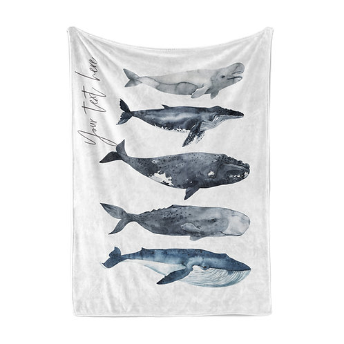 Personalized light blanket - Whale Pod