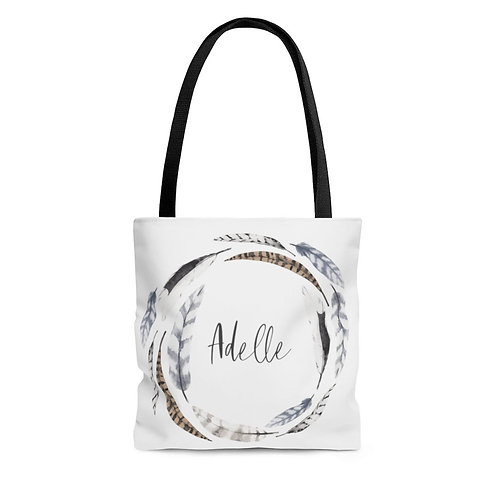Personalized Shopping Tote - boho feather wreath