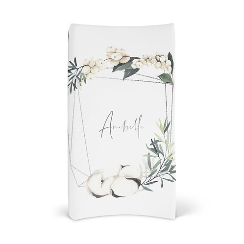 Personalized Changing Pad - Winter cotton wreath