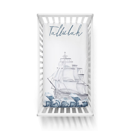 Personalized crib fitted sheet - Sailing