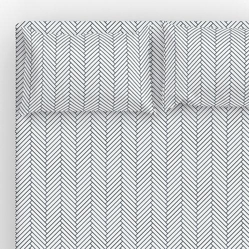 Italian cotton Sheet Set - Navy-Wh Herringbone