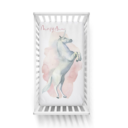 Personalized crib fitted sheet - Enchanted unicorn