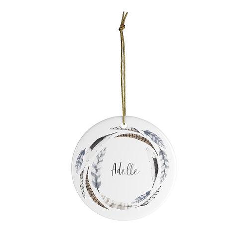 Ceramic Ornament - Boho Feather Wreath
