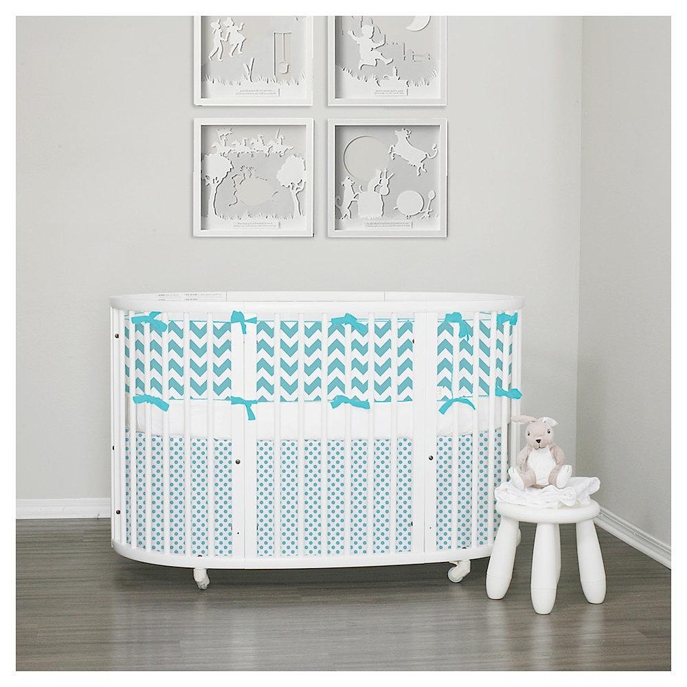 custom baby bedding  stokke bedding  custom bedding by lublini  - stokke sleepi pc bumper set  aqua
