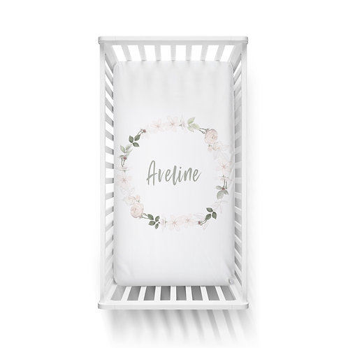Personalized crib fitted sheet - Royal ballet wreath